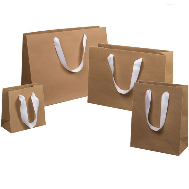 natural kraft paper euro totes white ribbon handles