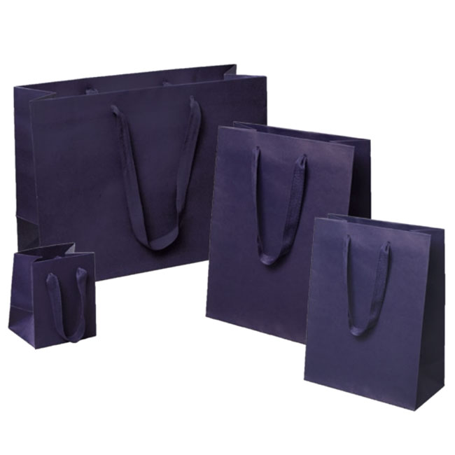 navy euro tote paper shopping bags with cotton twill handles 4 sizes