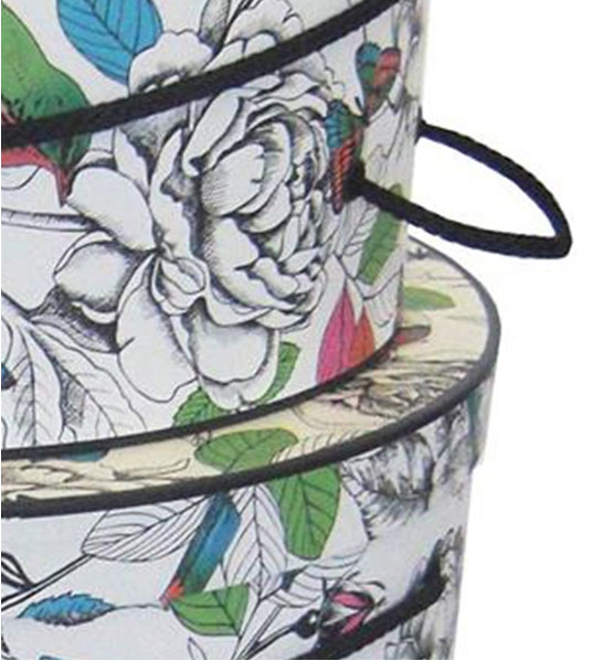 nested hat boxes colorful nature pattern detail