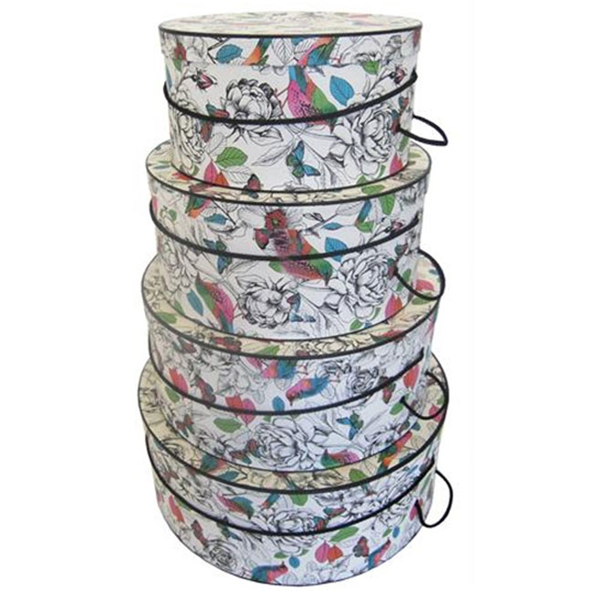 nested retail hat boxes colorful nature pattern black trim and cords