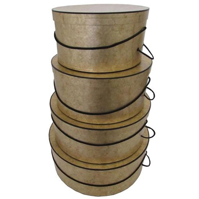 nested round hat boxes gold marble with black trim and carry cord