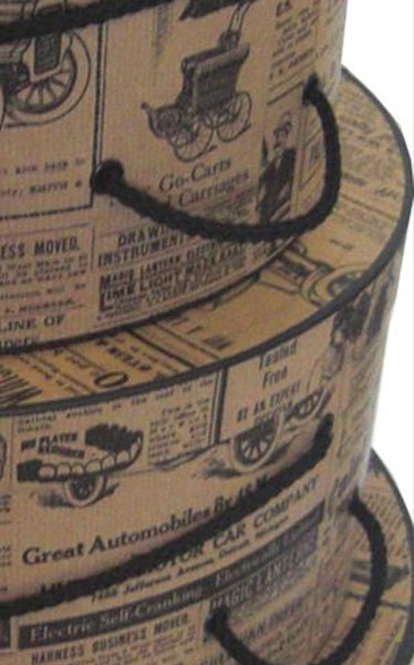 nested hat boxes newsprint pattern detail