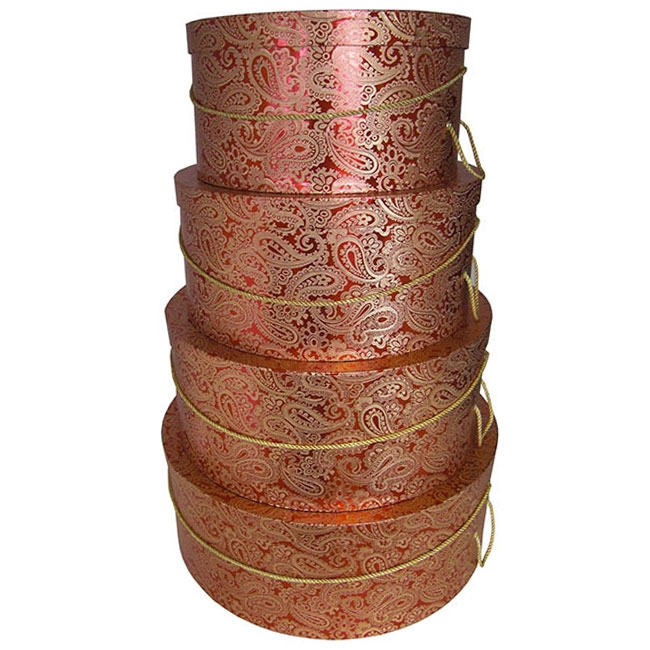 nested hat boxes red and golden paisley print pattern