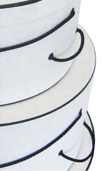 nested retail hat boxes white crepe pattern detail