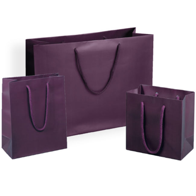 matte aubergine euro tote paper shopping bags rope cord handles assorted sizes
