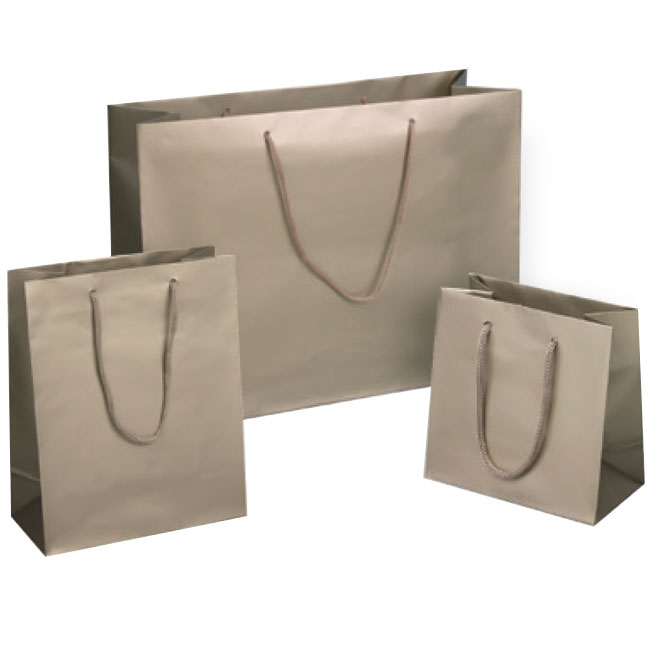 matte champagne euro tote paper shopping bags rope cord handles assorted sizes