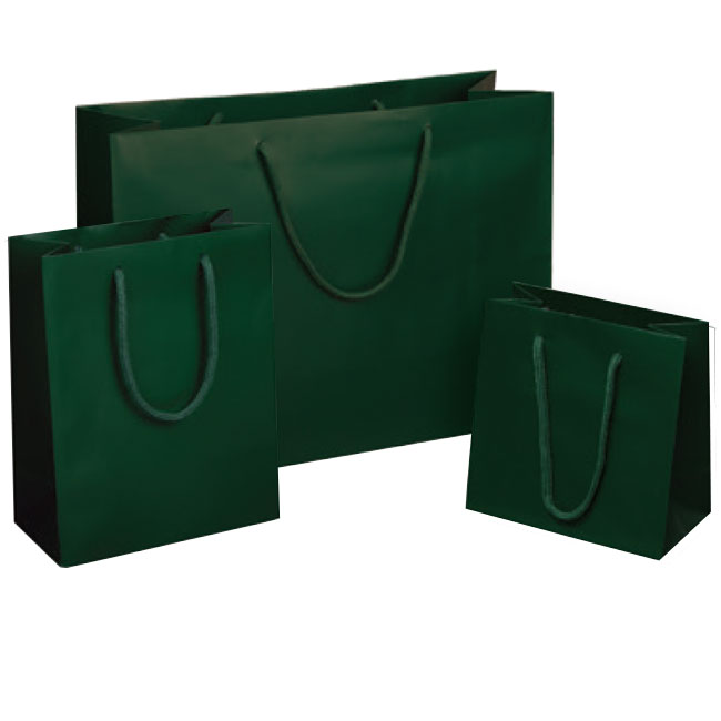 matte dark green euro tote paper shopping bags rope cord handles assorted sizes