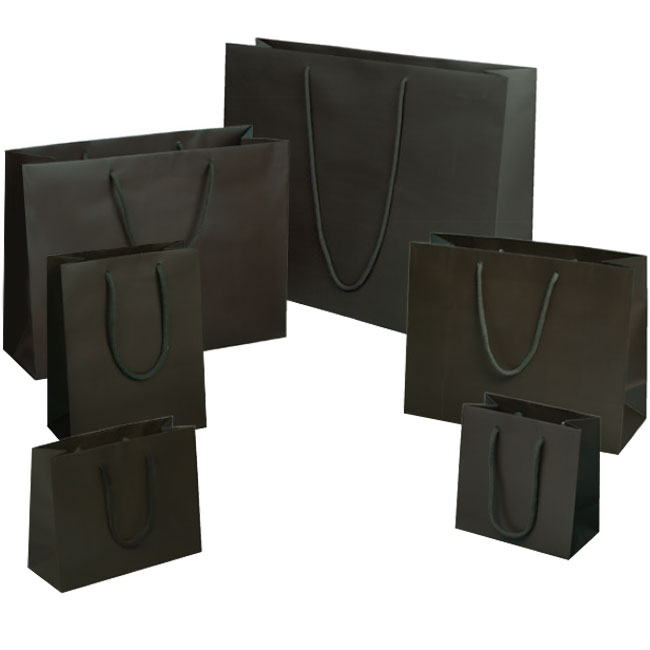 matte dark brown espresso euro tote paper shopping bags rope cord handles assorted sizes