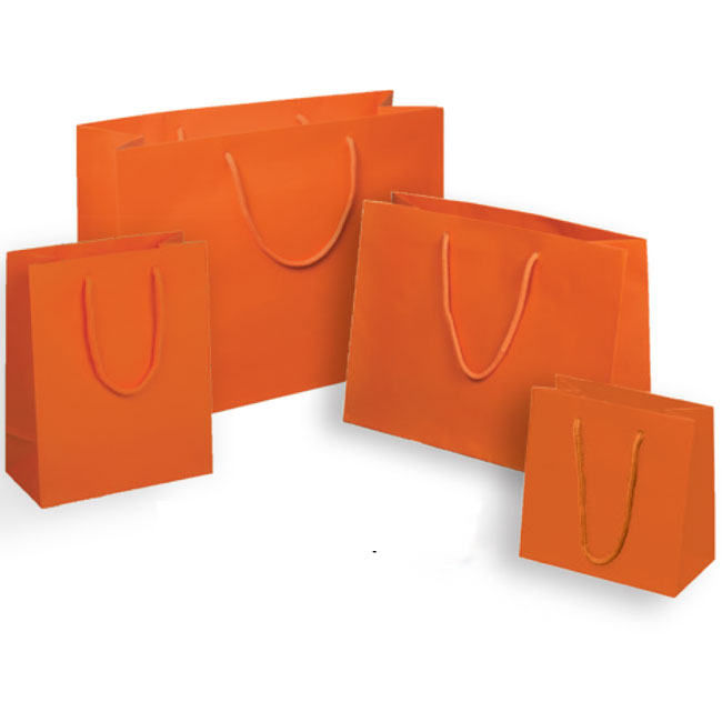 euro tote paper shopping bags matte orange valencia with cotton cord handles