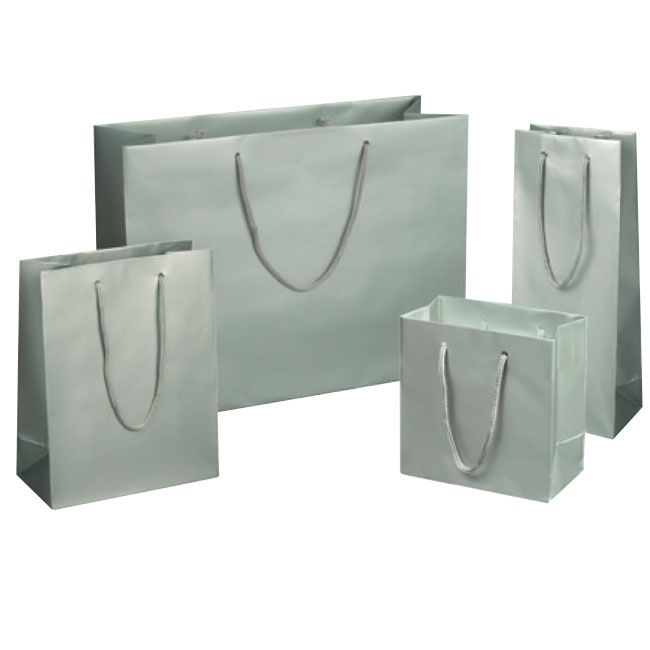 matte platinum silver euro tote paper shopping bags rope cord handles assorted sizes