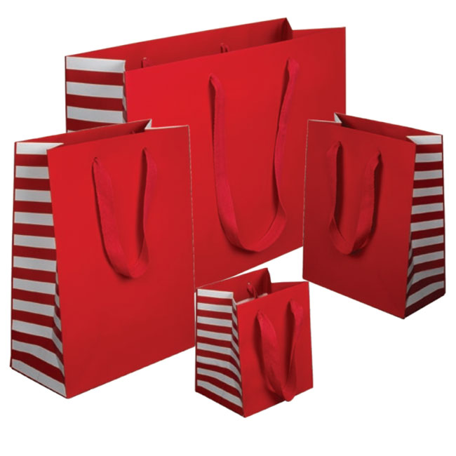 red euro tote paper shopping bags with white stripe gussets 4 sizes