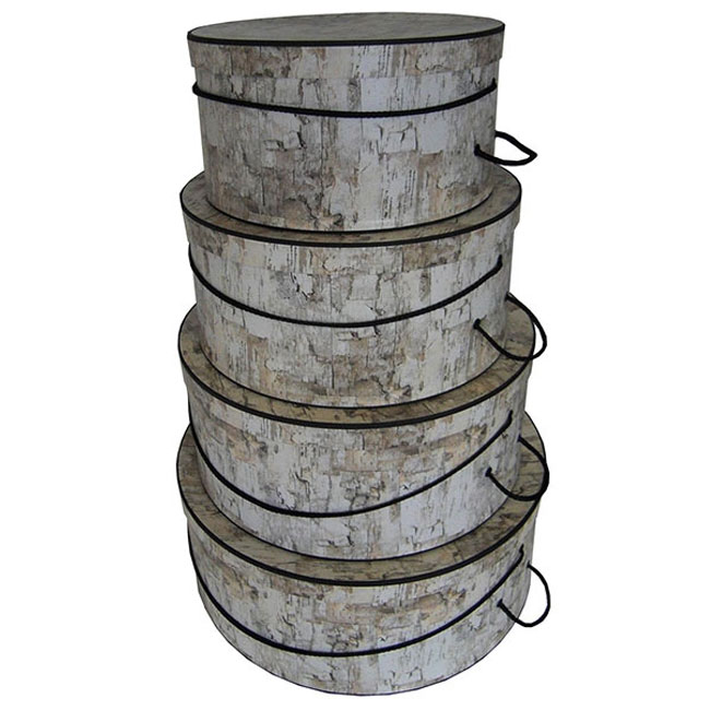 nested round hat boxes, white birch with black trim and carry cord stripes