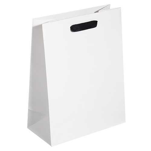 white kraft euro tote with black cotton twill ribbon handle 10 x 5 x 13
