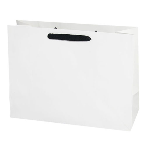 white kraft euro tote with black cotton twill ribbon handle 16 x 6 x 12