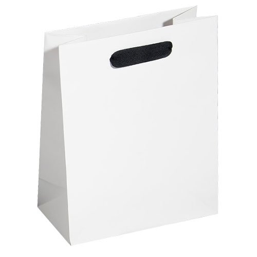 white kraft euro tote with black cotton twill ribbon handle 8 x 4 x 10