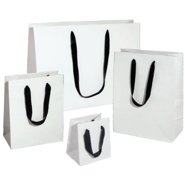 white kraft euro tote with black cotton twill ribbon handles 4 sizes