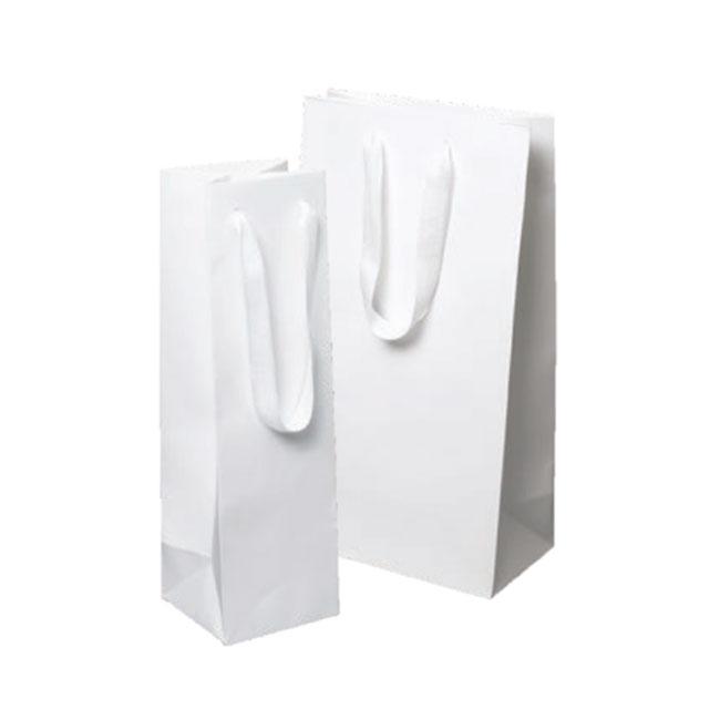 white kraft euro tote paper bags with white cotton twill ribbon handles bottle sizes