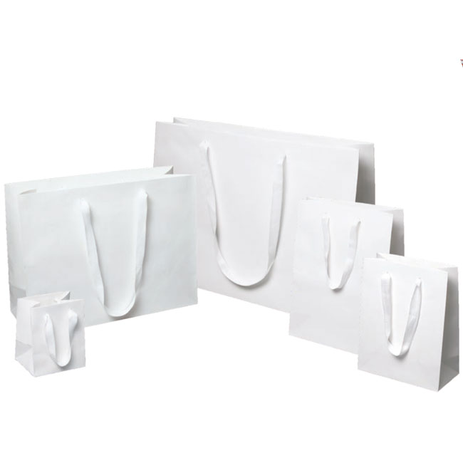 white kraft euro tote paper bags with white cotton twill ribbon handles