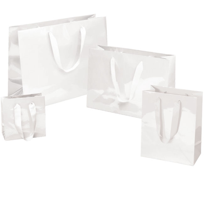 Gloss White Paper Euro Totes With Grosgrain Ribbon Handles - 4 Sizes