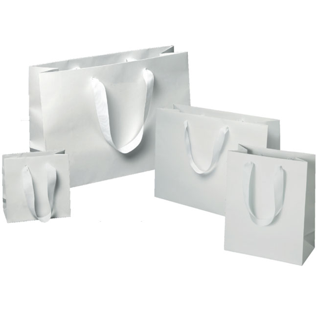 matte white laminated paper euro tote shoppers 4 sizes
