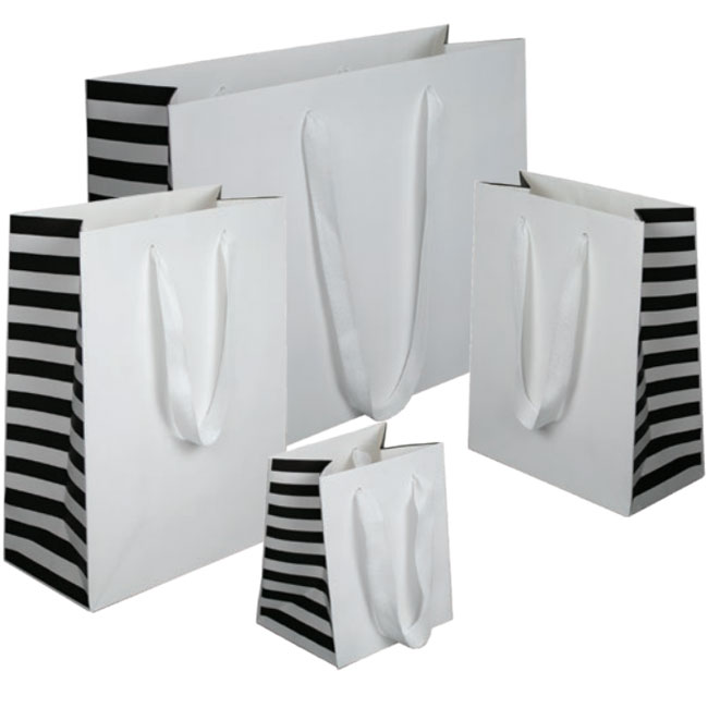 white paper euro tote shopping bags with black striped gussets