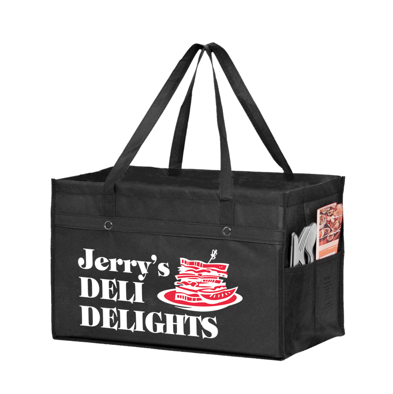 Reusable Extra Large Food Service Bag, 23 x 13 x 8 - Black, Red & White