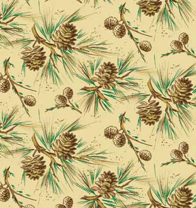 Pinecones On Kraft Patterned Gift Wrap