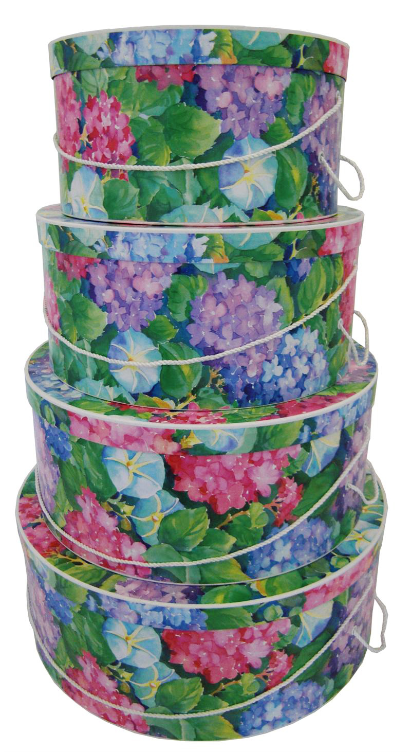 Nested Hat Boxes - Hydrangea Blooms