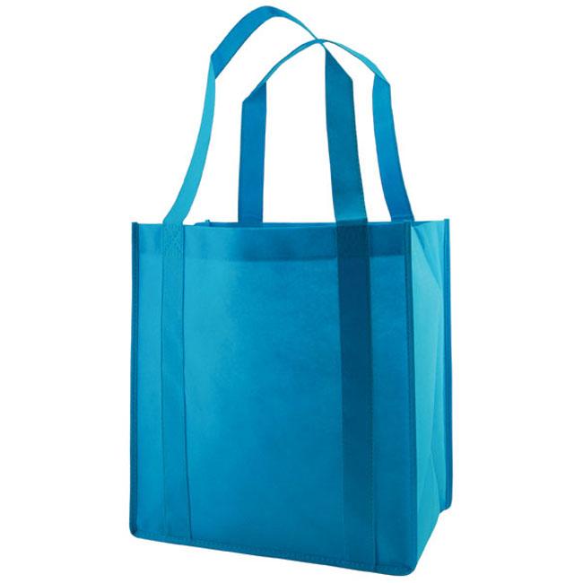 "Grocery Tote, Aqua Blue, 12"" x 8"" x 13"", 20"" Handle"
