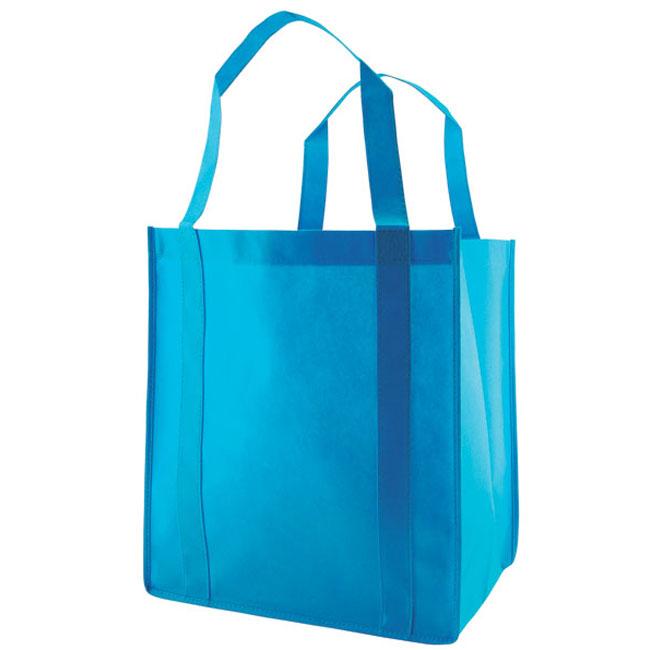 "Grocery Tote, Aqua Blue, 13"" x 10"" x 15"", 20"" Handle"