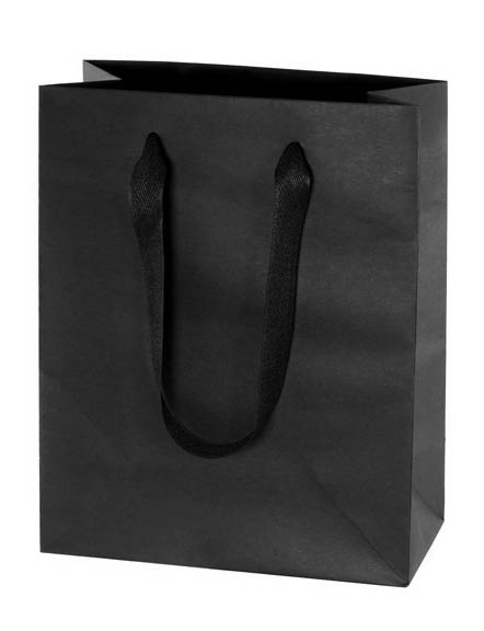 Black Euro Tote Kraft Paper Shopping Bag Cotton Handles
