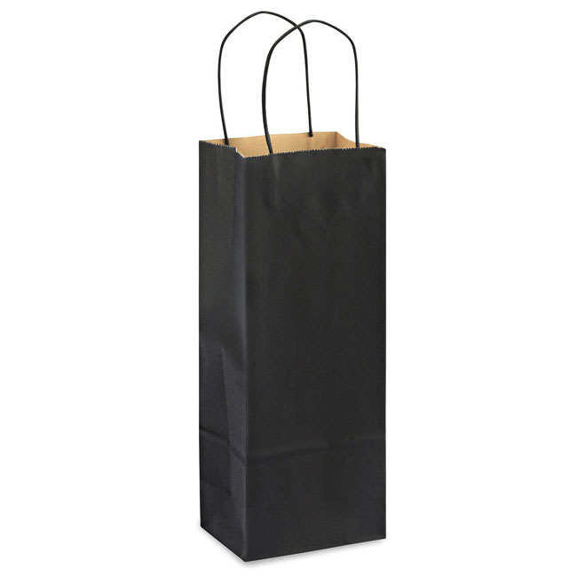 "Black Natural Kraft, Twisted Paper Handles - 5-1/2"" W x 3-1/4"" G x 13"" H"