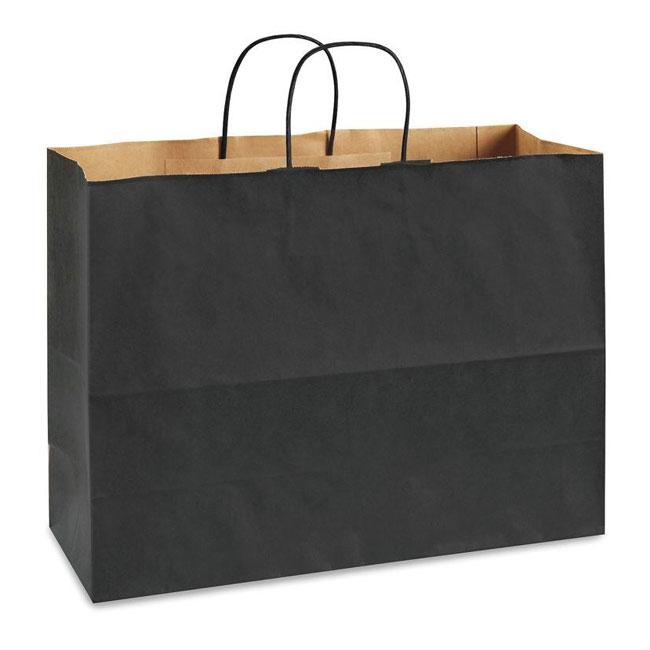 "Black Natural Kraft, Twisted Paper Handles - 16"" W x 6"" G x 12"" H"