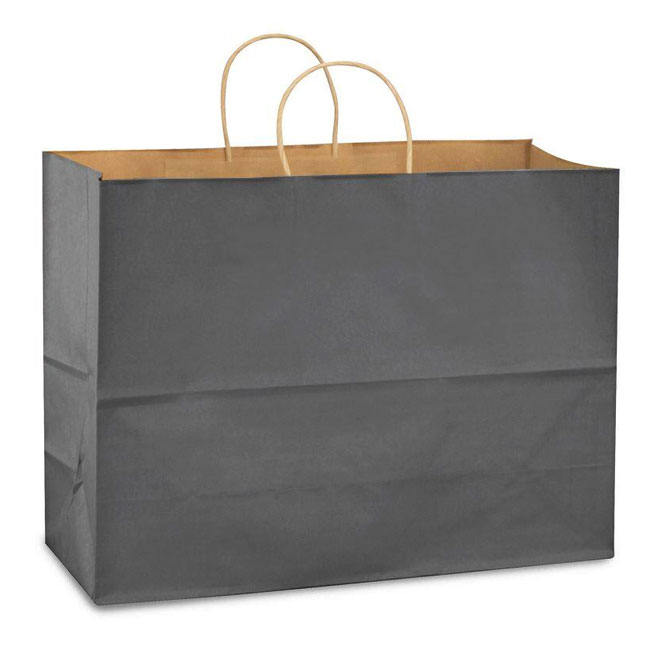 """Charcoal Gray Natural Kraft, Twisted Paper Handles - 16"""" W x 6"""" G x 12"""" H"""