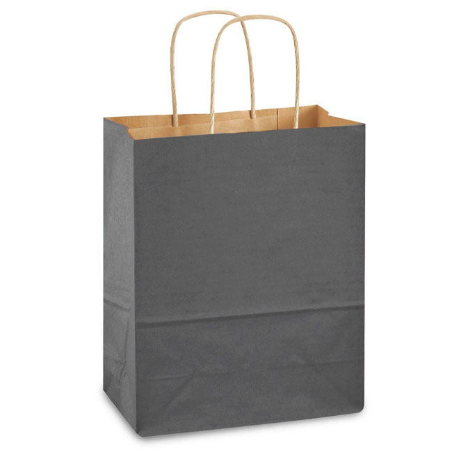 """Charcoal Gray Natural Kraft, Twisted Paper Handles - 8"""" W x 4-3/4"""" G x 10-1/4"""" H"""