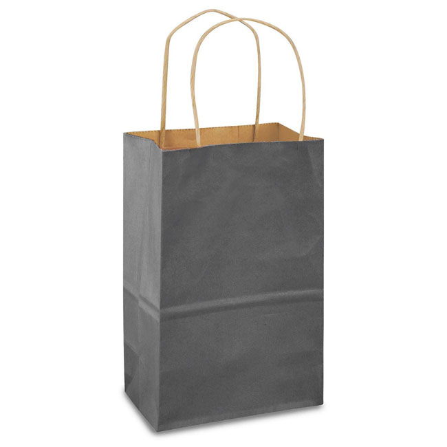 """Charcoal Gray Natural Kraft, Twisted Paper Handles - 5-1/2"""" W x 3-1/4"""" G x 8-3/8"""" H"""