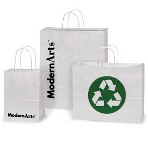 Custom Printed White Kraft Paper Shopping Bags - 15 Sizes