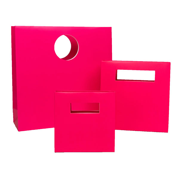 Die-Cut Handle Shopping Bags, Hot Pink Exterior, Matte Lamination - Assorted Sizes