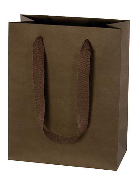 Dark Brown Espresso Kraft Euro Tote Paper Shopping Bags w/ Cotton Twill Handles