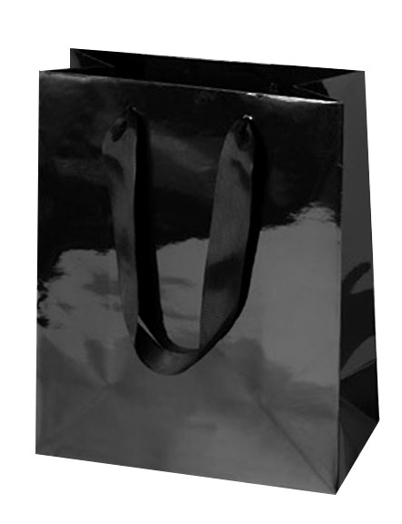 Black Gloss Laminated Euro Tote Paper Shopping Bags w/ Grosgrain Handles - Assorted Sizes