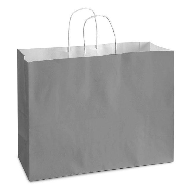 "Gray White Kraft, Twisted Paper Handles - 16"" W x 6"" G x 12"" H"
