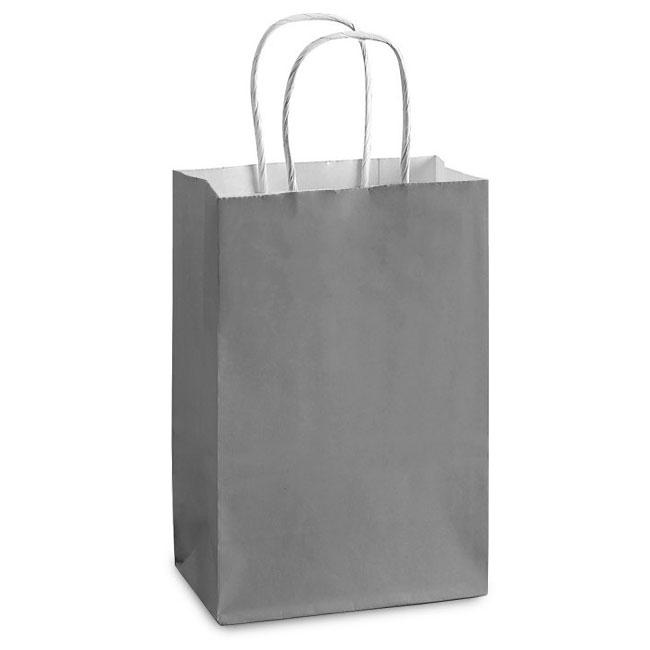 "Gray White Kraft, Twisted Paper Handles - 5-1/2"" W x 3-1/4"" G x 8-3/8"" H"