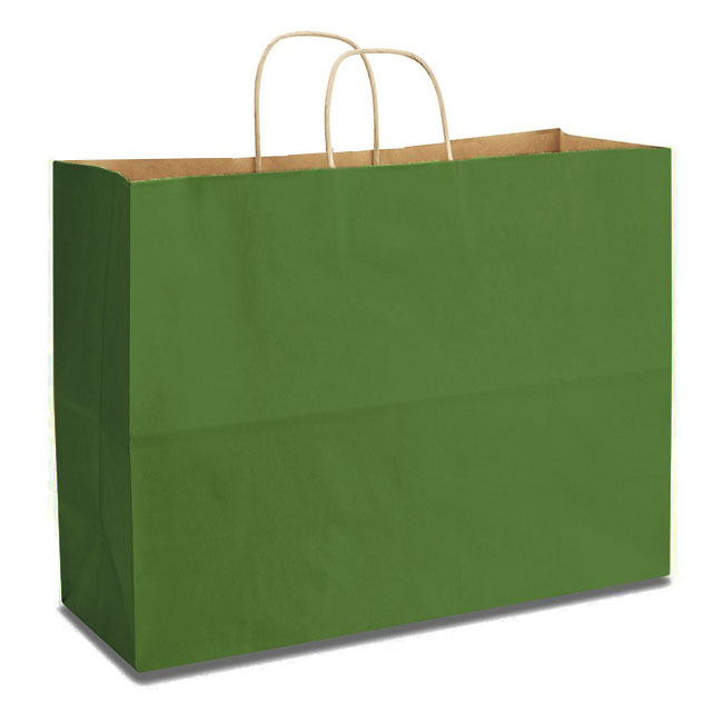"Green Natural Kraft, Twisted Paper Handles - 16"" W x 6"" G x 12"" H"