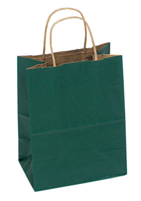 Plain, Unprinted 100% RECYCLED Kraft Shopping Bag with Twisted Paper Handles and Hunter Green Tint - 3 Sizes
