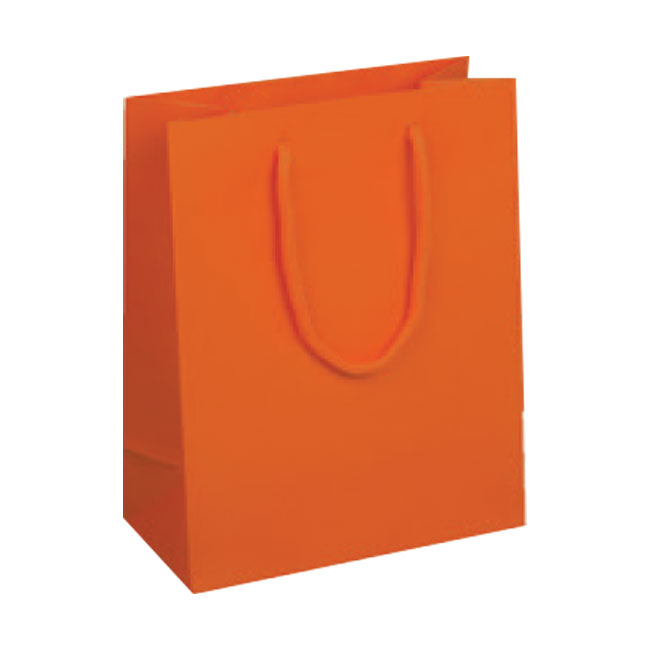 Valencia Orange, Matte Laminated, Cotton Cord Handles - Assorted Sizes