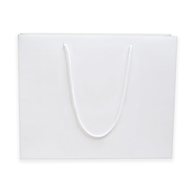"White, Matte Laminated, Cotton Cord Handles - 20"" W x 6"" G x 16"" H"