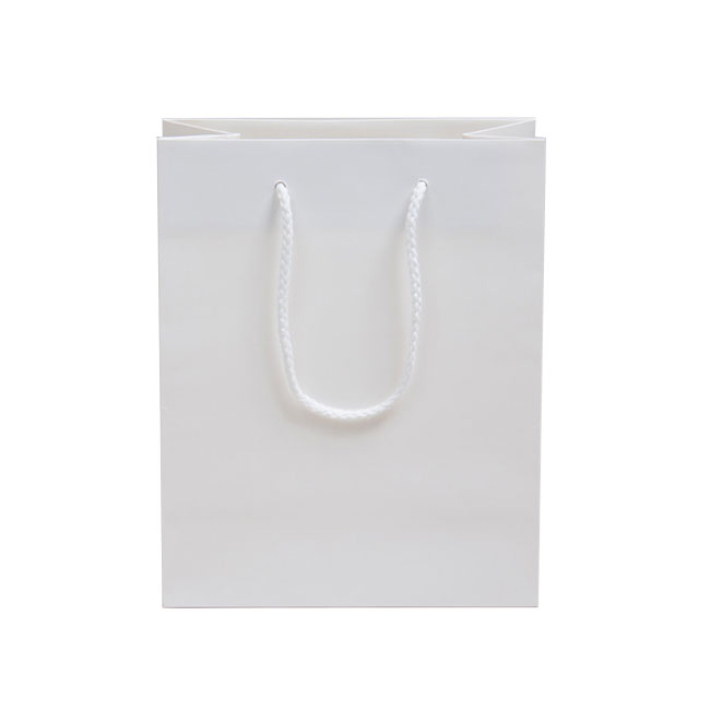 White, Matte Laminated, Cotton Cord Handles - Assorted Sizes
