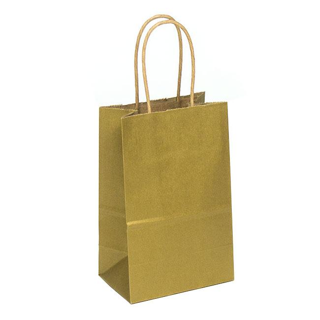 "Metallic Gold Natural Kraft, Twisted Paper Handles - 5-1/2"" W x 3-1/4"" G x 8-3/8"" H"