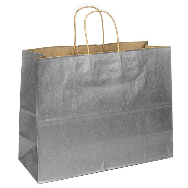 "Metallic Silver Natural Kraft, Twisted Paper Handles - 16"" W x 6"" G x 12"" H"