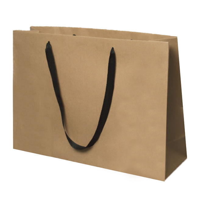 """Recycled Kraft with Black Cotton Twill Handles - 20"""" W x 6"""" G x 14"""" H"""